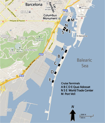 Barcelona Cruise Port Map