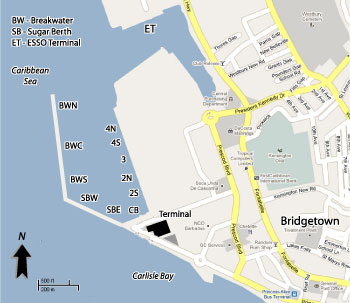 Bridgetown Cruise Port Map