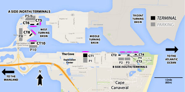 Cruises From Port Canaveral Florida Port Canaveral Cruise Ship - Melbourne cruise ship terminal map