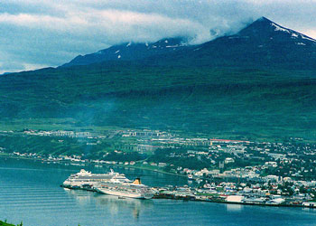 Cruise ships in harbor at Akureyri, Iceland