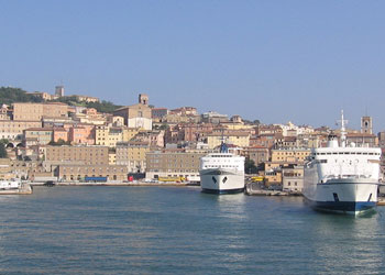 Cruise ships in port at Ancona, Italy