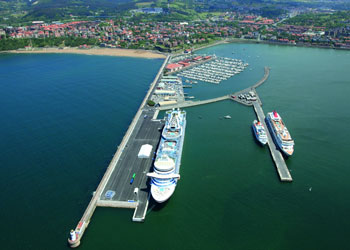 An aerial view of the cruise ship piers, Port of Bilbao, Getxo, Bilbao, Spain