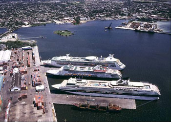 An aerial view of the cruise ship berths at the Port of Cartagena, Colombia