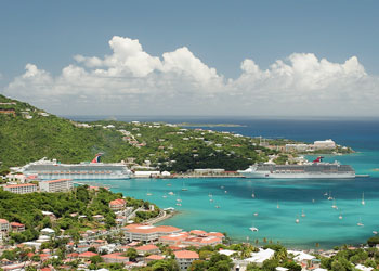 Carnival Valor and Destiny moored at Charlotte Amalie Harbor