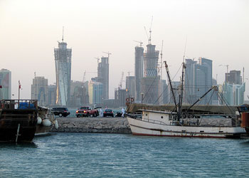 Doha city skyline from the dhow port