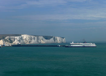Ship Entering Port with White Cliffs of Dover in the Background