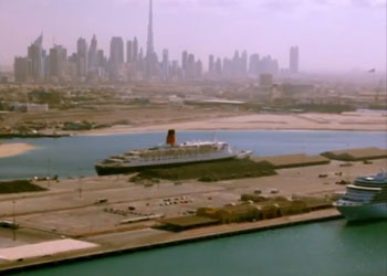 Dubai, UAE with cruise terminal in foreground