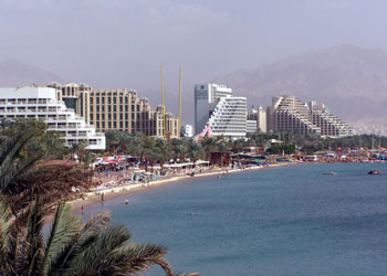 The shoreline of Eilat, Israel