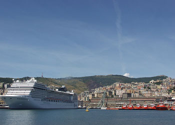 Cruise ship berthed at Genoa, Italy