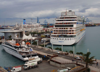 Cruise ships dock at the Santa Catalina terminal, which is situated at the center of the inner basin at the Port of Las Palmas