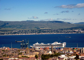 Golden Princess cruise ship moored at Greenock, Scotland