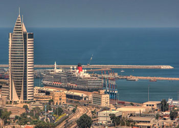 Queen Elizabeth moored at the Port of Haifa, Israel