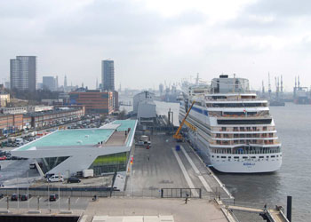 AIDAsol berthed at the Hamburg Cruise Center Altona