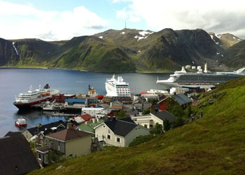 Cruise ships at the North Cape cruise port at Honningsvag, Norway