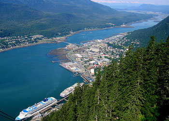 View from the Aerial Tram of the cruise port at Juneau, Alaska