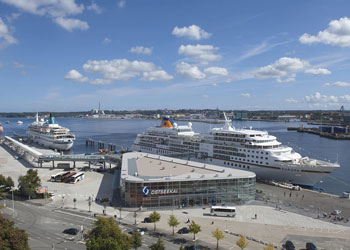 Hapag Lloyd's Europa cruise ship berthed at the Ostseekai Cruise Terminal, Kiel, Germany