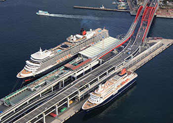 Queen Mary 2 docked at Kobe, Japan