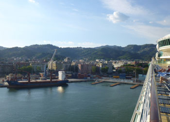 Sailing into the port of La Spezia, Italy