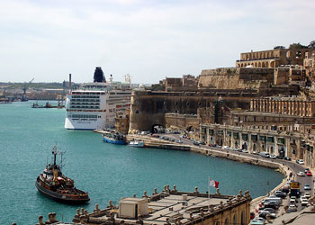 View from Baracca gardens of a cruise ship in La Valletta, Malta