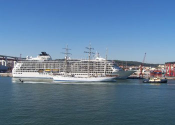 Cruise ship moored at the Rocha Cuise Terminal, Lisbon, Portugal