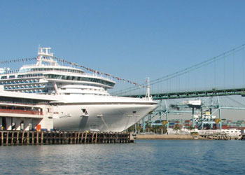 Harbor Master's Building and Cruise Ship - Port of Los Angeles, San Pedro