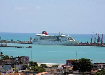 Pullmantur Empress berthed at the port of Maceio, Brazil