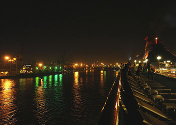 Leaving Mumbai docks at nightime