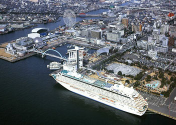 View of cruise ship moored near aquarium at Nagoya, Japan