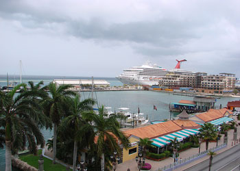 Oranjestad, capital of Aruba - Looking<br>across the marina towards the cruise ship terminal