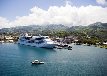 Cruise ship moored in the harbor at Papeete, Tahiti