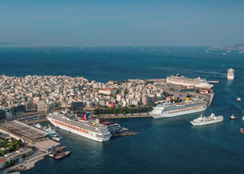 An aerial view of the Greek port of Piraeus