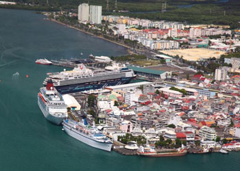 An aerial view of the cruise port, Pointe A Pitre, Guadeloupe