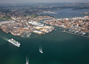 An aerial view of Poole Harbour, Poole, England