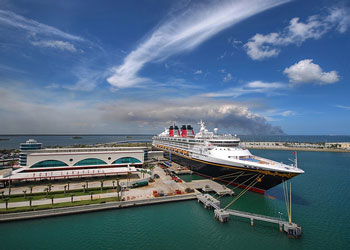 Disney Magic Cruise Ship tied up at the<br>Disney Terminal, Port Canaveral