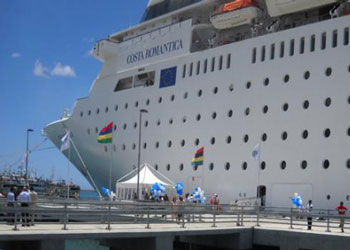 Costa Romantica at the Christian Decotter cruise terminal, Port Louis, Mauritius