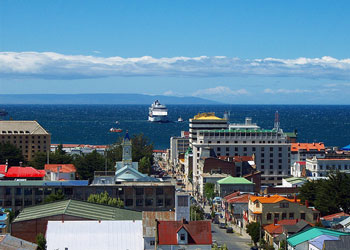 Cruise ship anchored off Punta Arenas, Chile
