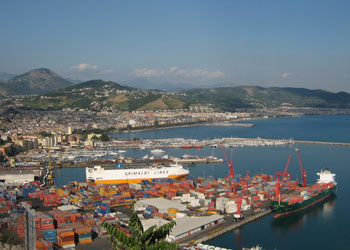 View over the port and town of Salerno, Italy