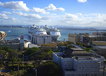 The View from Cristobal Fort over the Governor's Mansion to the Old San Juan Cruise Ship Terminal, San Juan, Puerto Rico