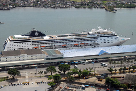 MSC Opera docked at Santos cruise terminal, Santos, Brazil