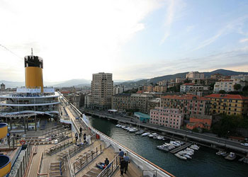 View of Savona, Italy from Costa Magica moored at the Palacrociere cruise terminal