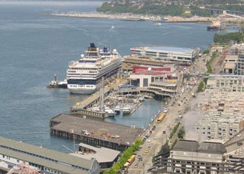 Celebrity Cruise Ship moored at Bell Street Pier, Seattle, Washington