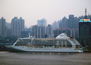 Cruise ship docked at the International Cruise Terminal in Shanghai, China