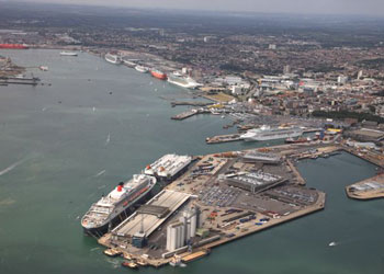 An aerial view of Southampton cruise port, England