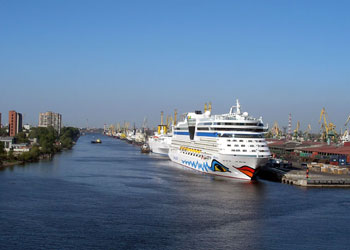 Cruise ship Aida Bella berthed in St Petersburg, Russia