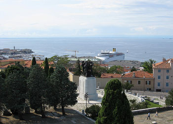 View over Trieste harbour from the Castello di San Giusto