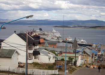 Cruise ship berthed at the Port of Ushuaia, Argentina