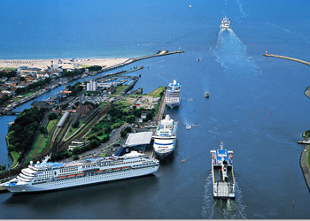 An aerial view of Warnemunde cruise port, Warnemunde, Germany