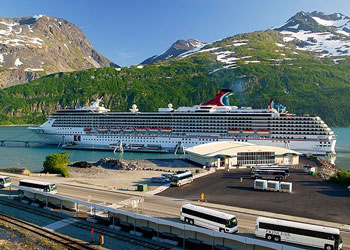 Cruise ship moored at the Cruise Terminal, Whittier, Alaska