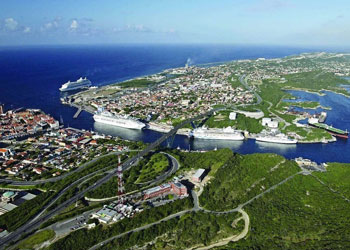 An aerial view of Willemstad on the Caribbean Island of Curacao